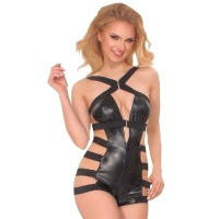 ledapol 6054 body in similpelle - bodysuit per donne
